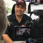Paul Fix takes time to interview with CBS Sports during the Mid Ohio Trans Am Race.